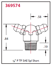 "369574 Alemite 1/8"" PTF Double 70 deg. Fitting - Hex Size, 1/2"" - Overall Length, 27/32"" - Shank Length, 7/32"""