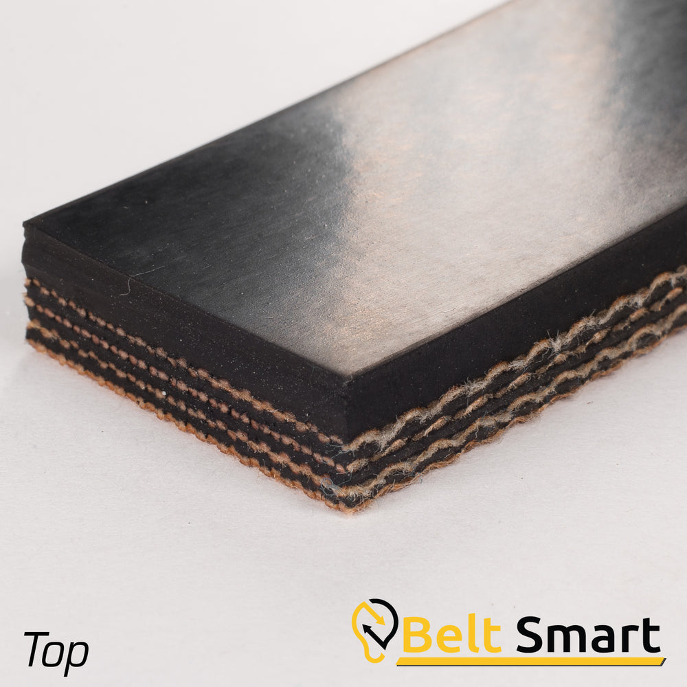 "BS053A - #53a Beltservice 4 Ply 180 Black 3/32"" Smooth Nitrile Top x Bare Conveyor Belt"