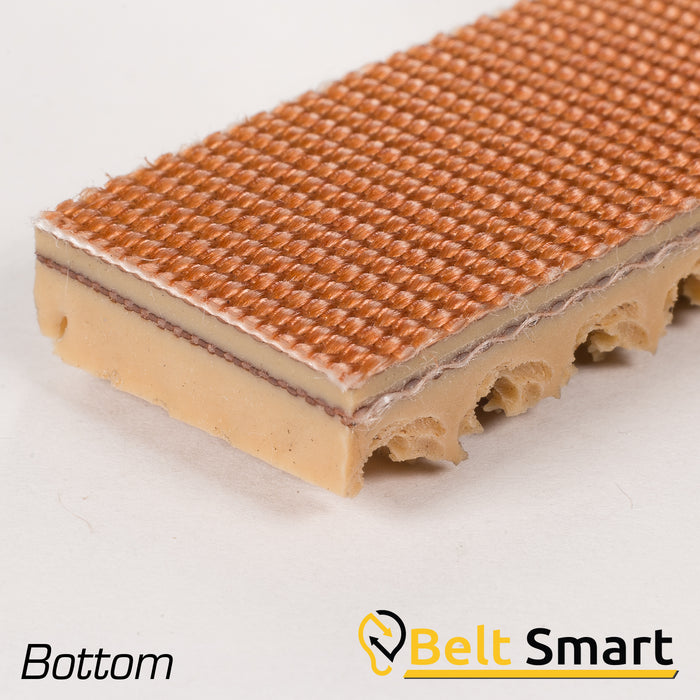 BS059A - #59a Beltservice 2 Ply 160 Tan Pure Gum Roughtop x Bare Conveyor Belt