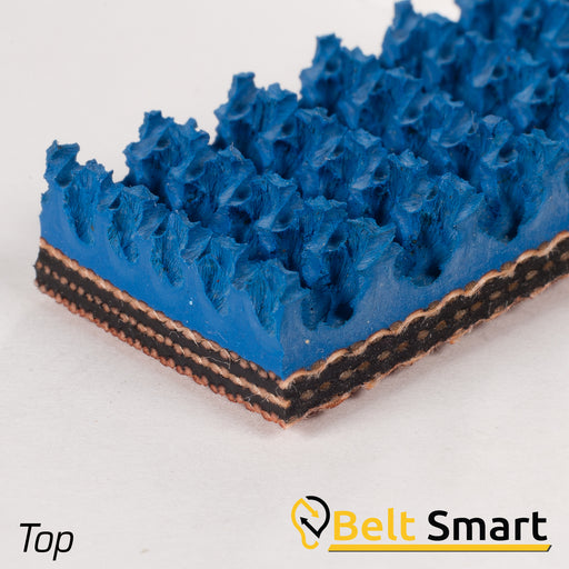 BS061A - #61a Beltservice 3 Ply 150 Blue Carbox Nitrile Roughtop x Bare Conveyor Belt