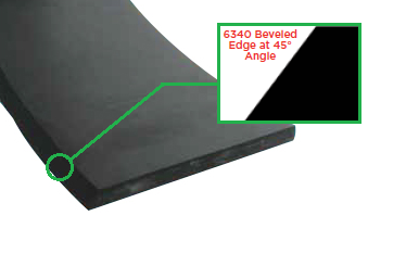 "6340-1204 Jason Industrial 6340 SBR Skirtboard Rubber - Beveled Edge - 3/8"" Gauge - 4"" Width - 50ft"