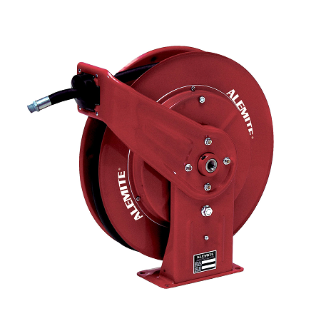 "8072-B Alemite Diesel Exhaust Fluid Hose Reel - Max Pressure: 300 PSI - Delivery Hose Specification: 1/2 ID x 30' - Hose Reel Inlet Female: 1/2"" BSPP - Delivery Hose Outlet Male: 1/2"" BSPP"