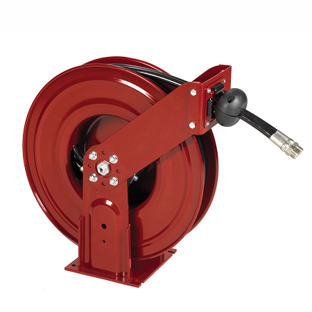 "8081-D Alemite Narrow Double Post Reels - Oil - Reel Inlet, 1/2"" NPSM(m) - Delivery Hose Outlet, 1/2"" NPTF(m) - Delivery Hose specification, 1/2"" x 50' (317813-50) - Max Pressure, 1,800 PSI"