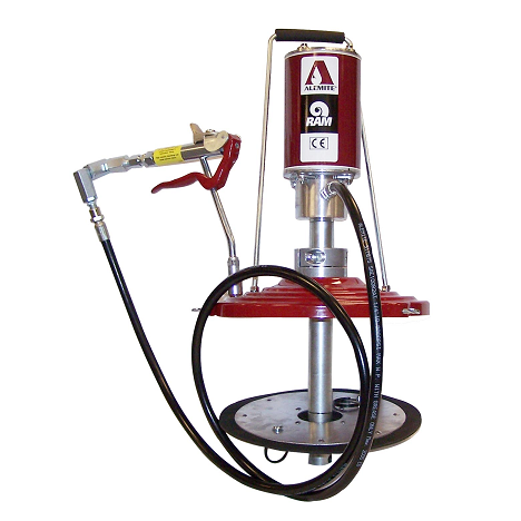 "9911-J Alemite Grease Pump - Pneumatic Ram - Portable - Drum Size: 35 Lb - Material Outlet: 3/8"" NPTF(f)"