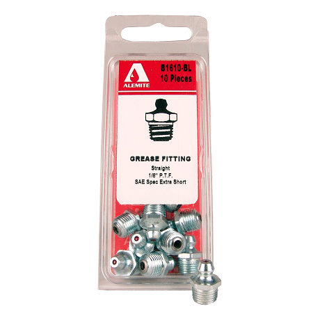 "B1610-BL Alemite Fitting Assortment - Straight Blister Pack - Hex Size: 7/16"" - Overall Length: 11/16"" - Shank Length: 19/64"" - Pack of 10"
