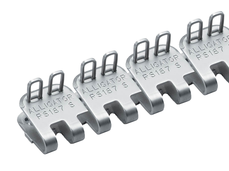 "RS187SJ60SS Flexco Alligator Ready Set Staple - 54612 - 60"" Belt Width (316 Stainless Steel with Stainless Spring Wire Pins)"