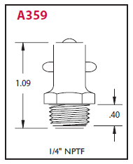 "A359 Alemite Pin Type Straight Fitting - Thread: 1/4"" NPTF - Hex Size: 17/32"" - Overall Length: 1-3/32"" - Shank Length: 5/16"""