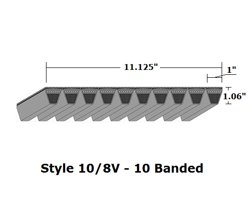 "10/8V3750 Wedge 10- Banded Wrapped V- Belt - 10/8V - 375"" O. C."