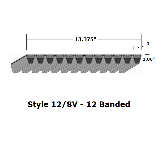 "12/8V2650 Wedge 12- Banded Wrapped V- Belt - 12/8V - 265"" O. C."
