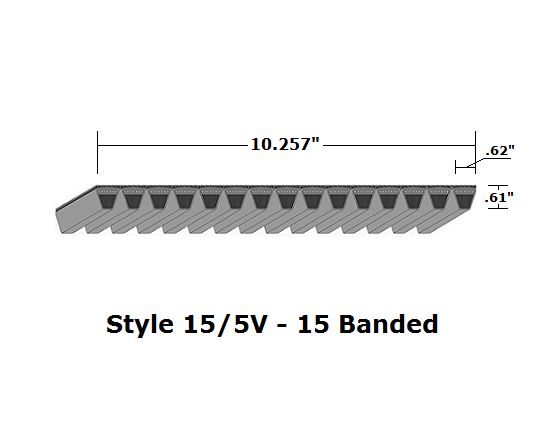 "15/5V1080 Wedge 15- Banded Wrapped V- Belt - 15/5V - 108"" O. C."