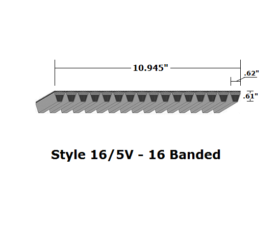 "16/5V3350 Wedge 16- Banded Wrapped V- Belt - 16/5V - 335"" O. C."