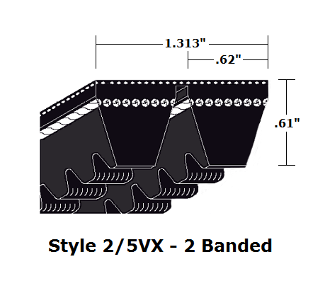 "2/5VX670 Wedge 2- Banded Cogged Cut Edge V- Belt - 2/5VX - 67"" O. C."