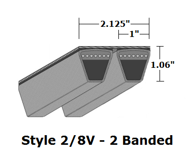"2/8V1400 Wedge 2- Banded Wrapped V- Belt - 2/8V - 140"" O. C."