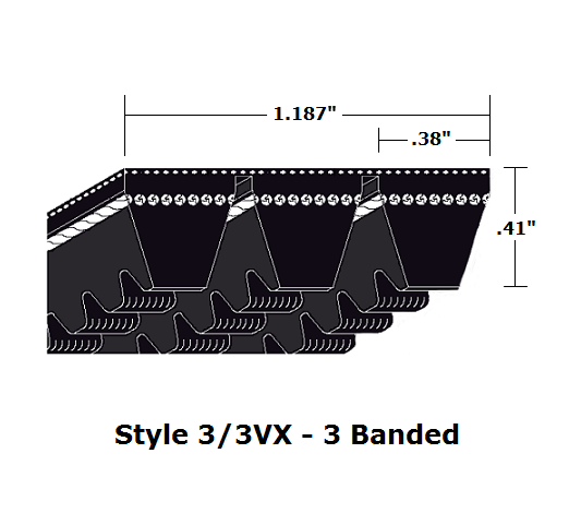 "3/3VX630 Wedge 3- Banded Cogged Cut Edge V- Belt - 3/3VX - 63"" O. C."