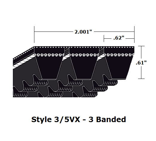 "3/5VX560 Wedge 3- Banded Cogged Cut Edge V- Belt - 3/5VX - 56"" O. C."