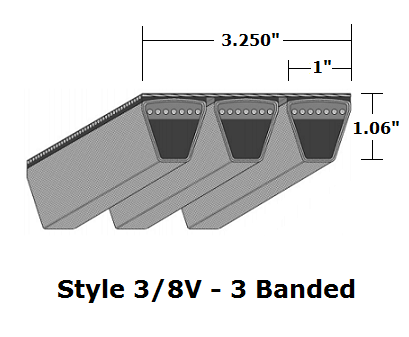 "3/8V3350 Wedge 3- Banded Wrapped V- Belt - 3/8V - 335"" O. C."