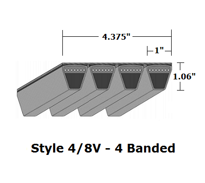 "4/8V3150 Wedge 4- Banded Wrapped V- Belt - 4/8V - 315"" O. C."