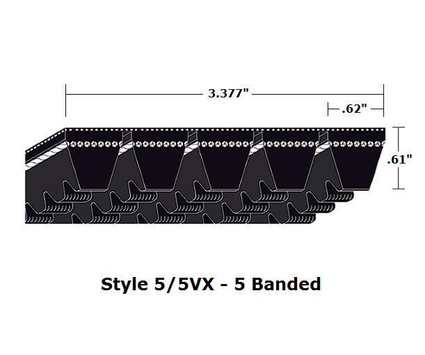 "5/5VX750 Wedge 5- Banded Cogged Cut Edge V- Belt - 5/5VX - 75"" O. C."