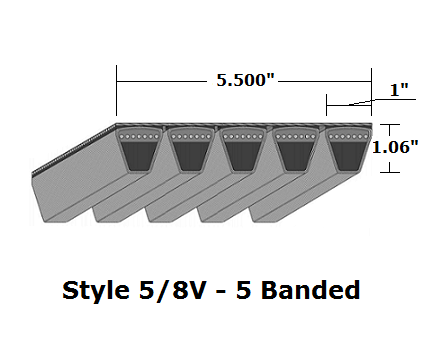 "5/8V3750 Wedge 5- Banded Wrapped V- Belt - 5/8V - 375"" O. C."