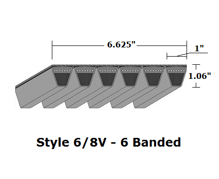 "6/8V2650 Wedge 6- Banded Wrapped V- Belt - 6/8V - 265"" O. C."