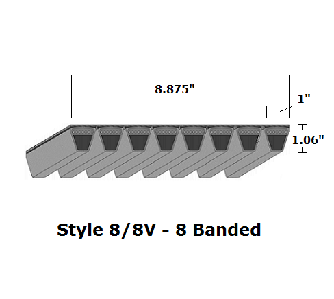 "8/8V2500 Wedge 8- Banded Wrapped V- Belt - 8/8V - 250"" O. C."