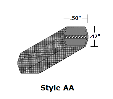 "AA90 Double Sided (Hex) Wrapped V- Belt - AA - 93.3"" O. C."