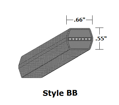 "BB118 Double Sided (Hex) Wrapped V- Belt - BB - 122.7"" O. C."
