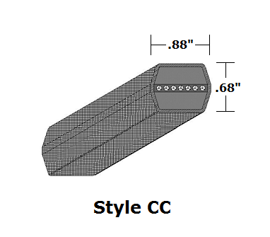 "CC180 Double Sided (Hex) Wrapped V- Belt - CC - 186.2"" O. C."