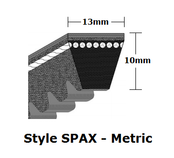 SPAX1400 Cogged Metric Wrapped V- Belt - SPAX - 1418mm O. C.