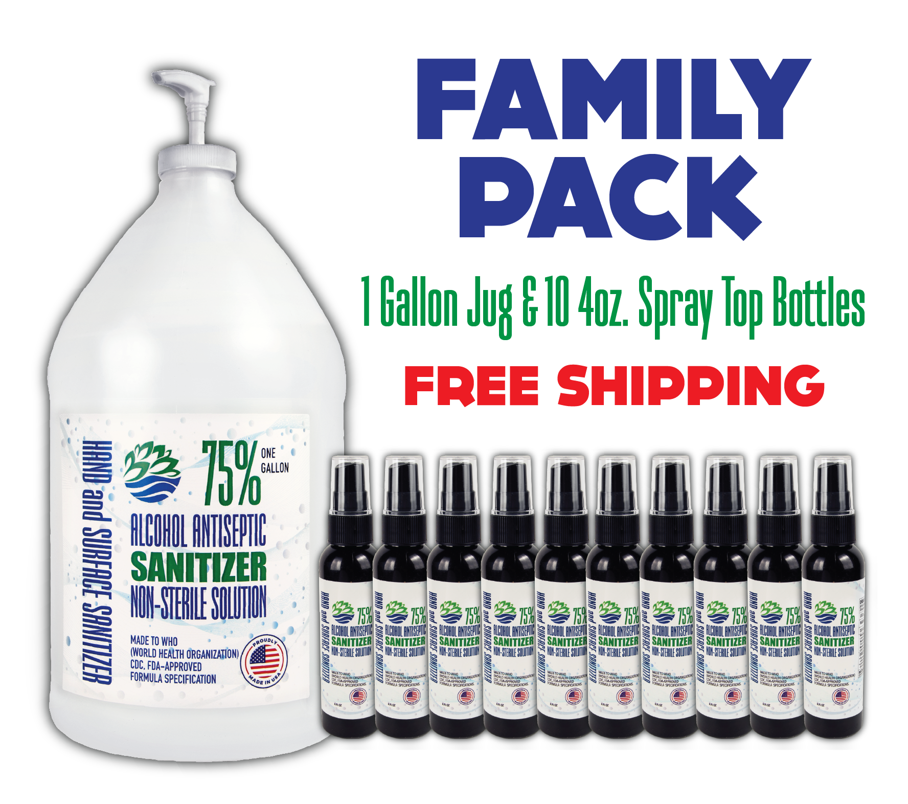 Family Pack - Gallon Jug & 10 4oz. Spray Bottles (FREE SHIPPING)