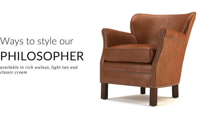 Philosopher Leather Chair - available in rich walnut, light tan and classic cream
