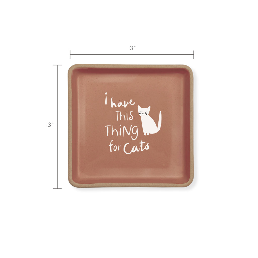 PETSHOP THING FOR CATS SQUARE STONEWARE TRAY