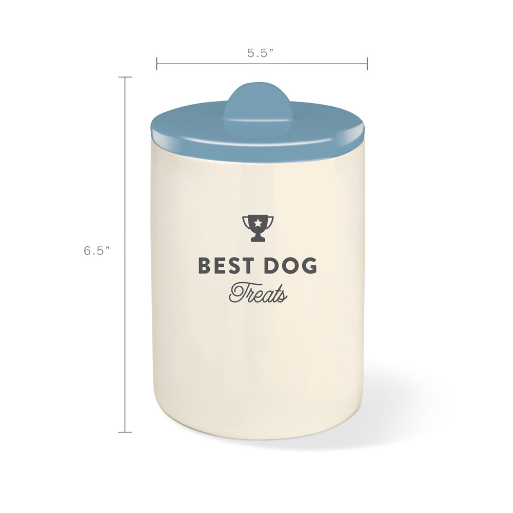 PETSHOP BEST DOG DUSTY BLUE CERAMIC TREAT JAR
