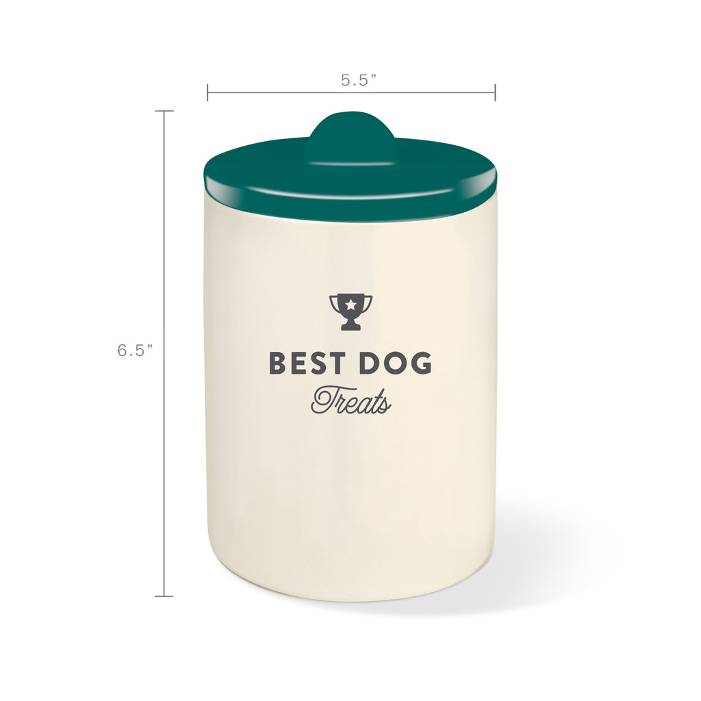 PETSHOP BEST DOG TEAL GREEN CERAMIC TREAT JAR