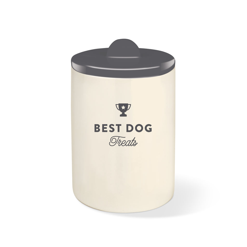 PETSHOP BEST DOG GRAY CERAMIC TREAT JAR