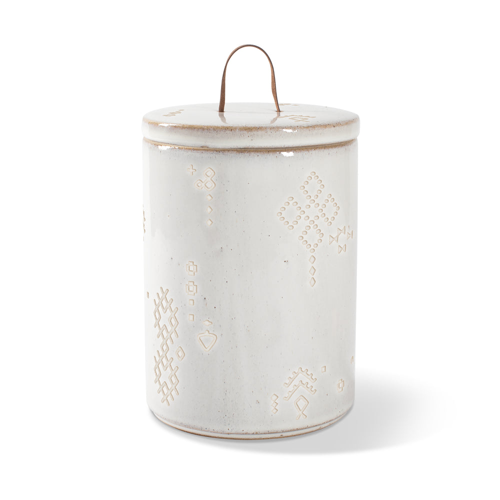 PETSHOP TRIBAL MARKS WHITE ARTISAN TREAT JAR