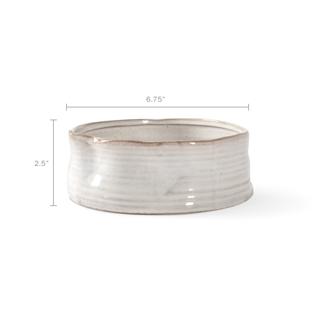 PETSHOP RIBBED WHITE MEDIUM STONEWARE PET BOWL