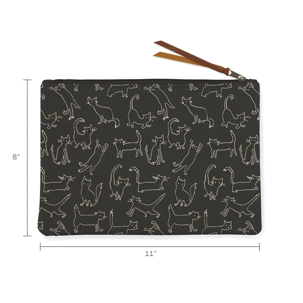 PETSHOP FUNNY CAT BLACK CANVAS POUCH