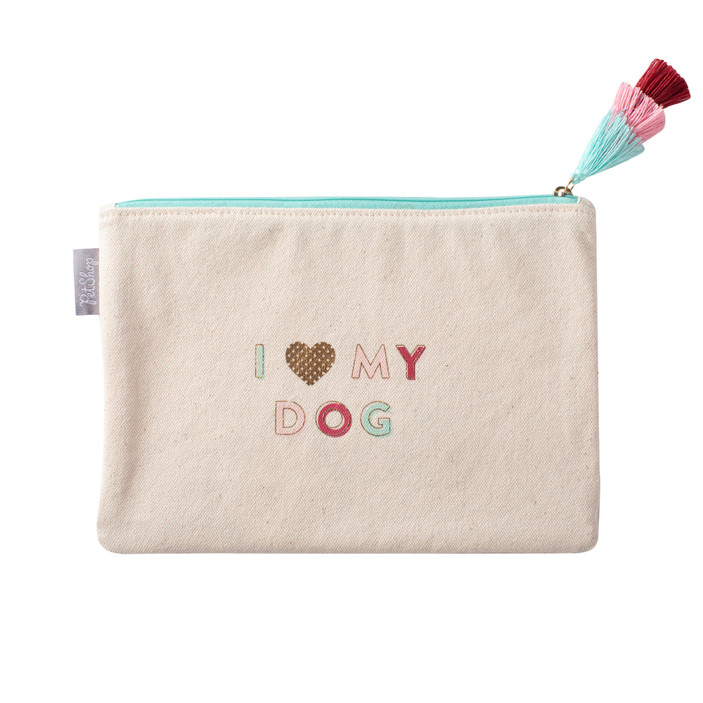 PETSHOP I LOVE MY DOG CANVAS POUCH