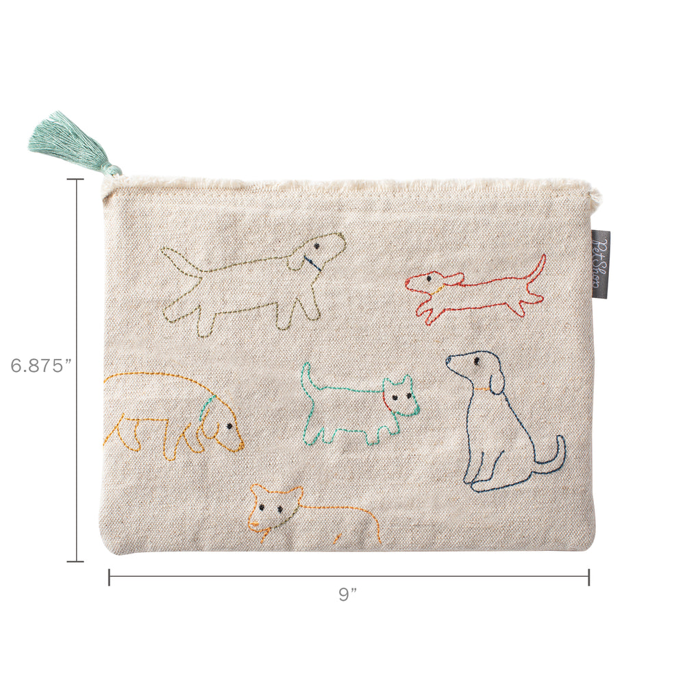 Pet Shop Stitched Dogs Canvas Pouch
