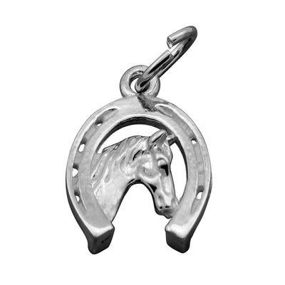 Silver horse head in a horse shoe charm