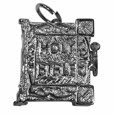 Large Bible silver charm