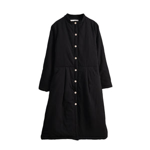 Cotton and Linen Retro Chinese Style Cotton-padded Long Over the Knee Jacket