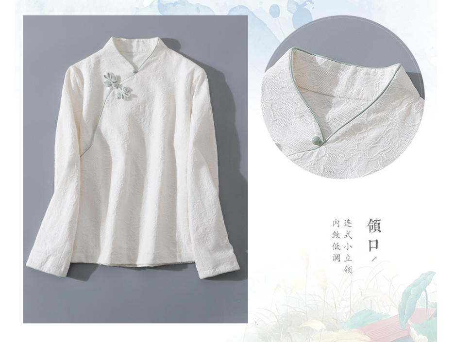Chinese Style Improved Hanfu Cotton Linen Jacquard Butterfly Button Retro Stand Collar Short Long Sleeve