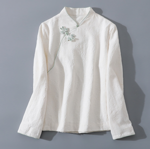 Open image in slideshow, Chinese Style Improved Hanfu Cotton Linen Jacquard Butterfly Button Retro Stand Collar Short Long Sleeve