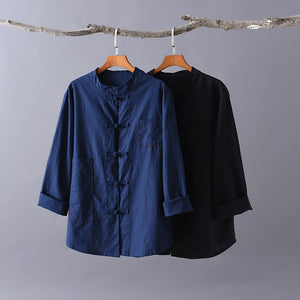 Li Ziqi Cotton and Linen Chinese Style Disc Button Stand-up Collar Shirt