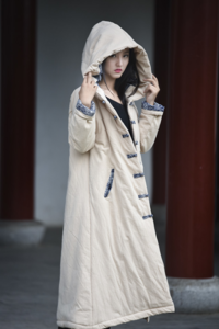 Li Ziqi Winter Cotton and Linen Warm Wrinkled Cloth Coat