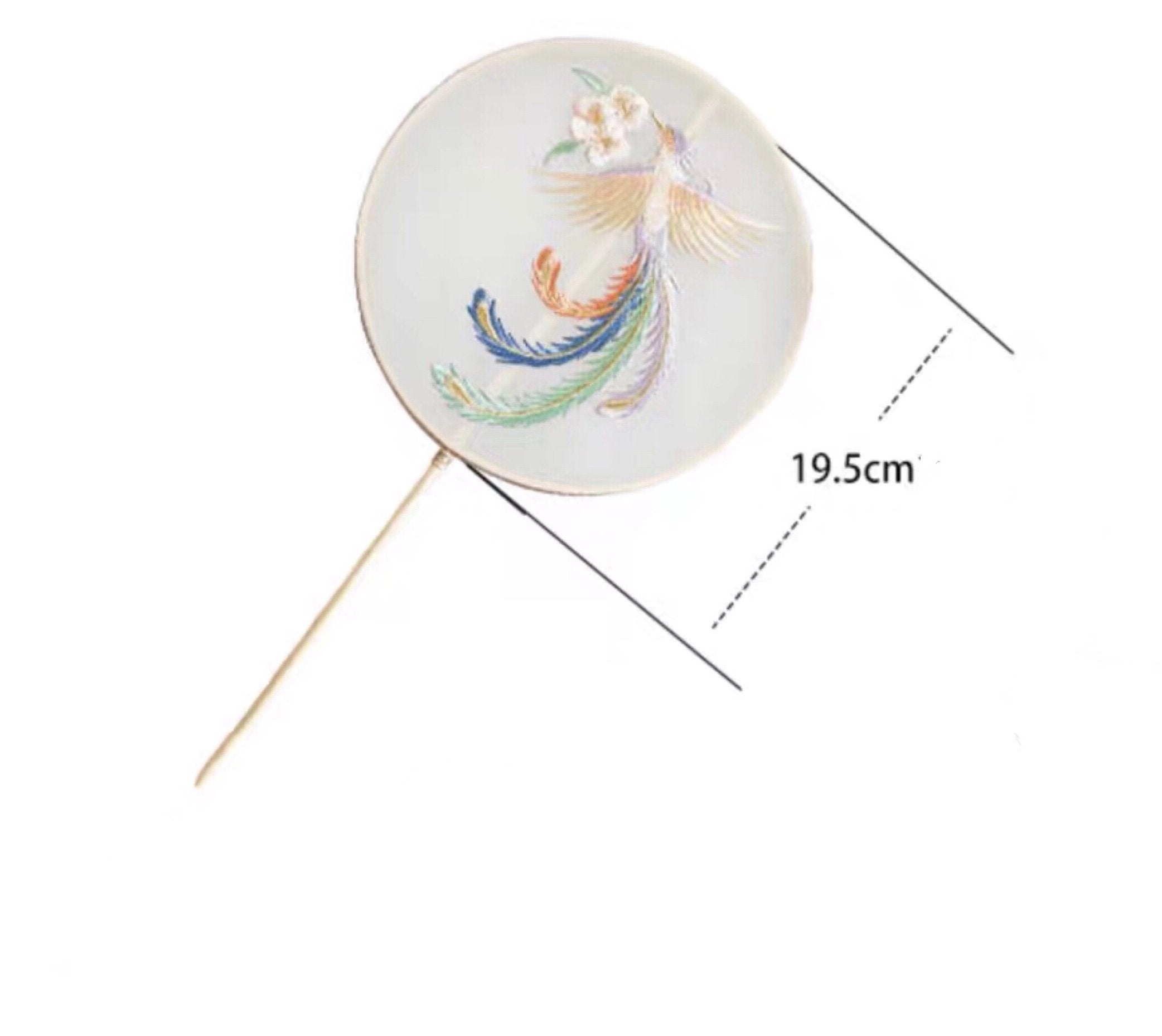 Li Ziqi Style Embroidery Moon-shaped Fan
