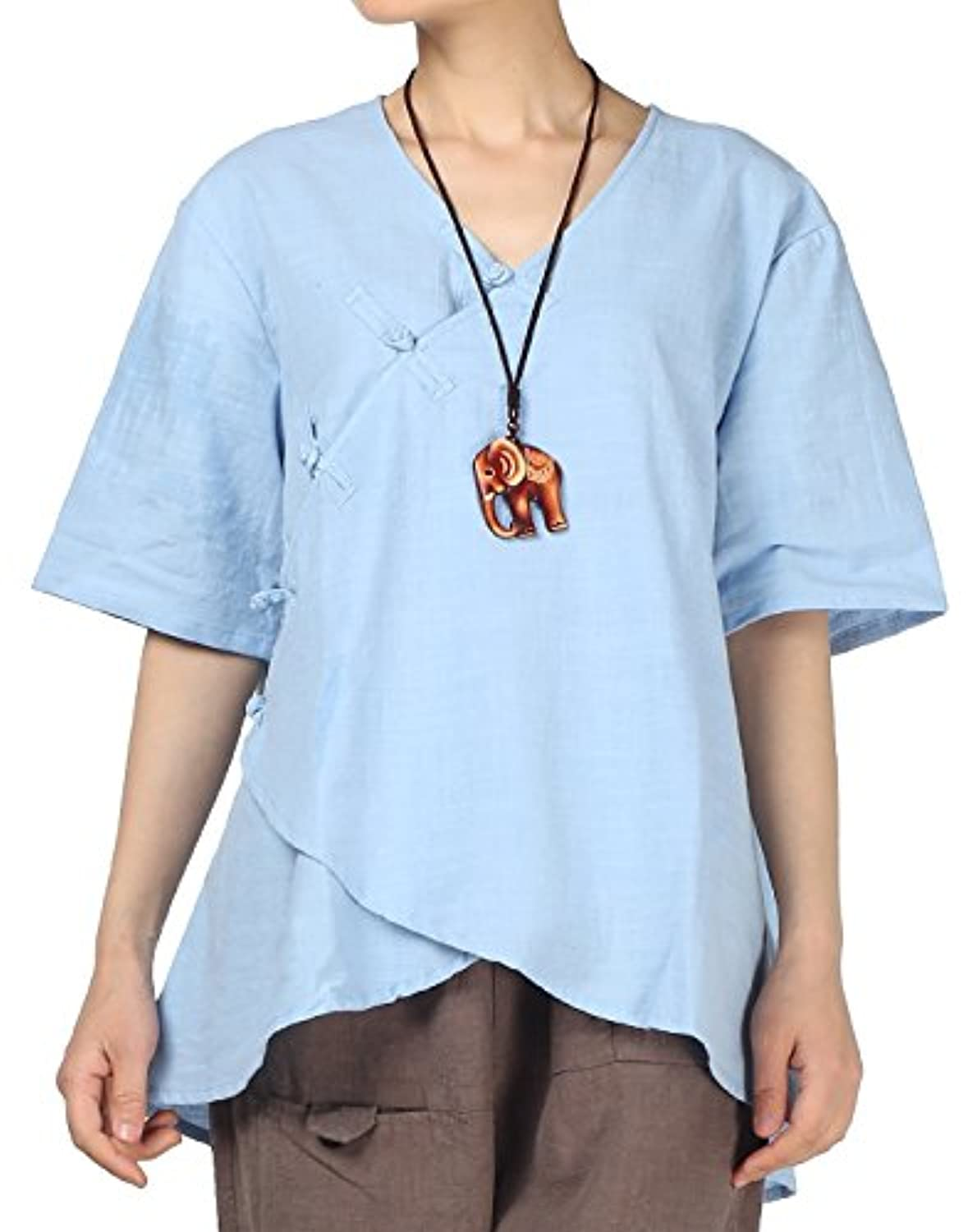 Women's Linen Retro Chinese Frog Button Tops Blouse