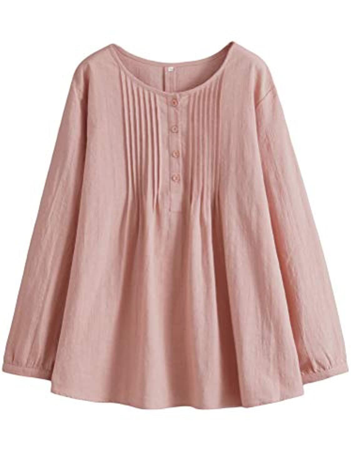 Women's Scoop Neck Pleated Blouse Solid Color Lovely Button Tunic Shirt